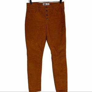 Button Fly High Waist Corduroy Pant Rust Orange 10